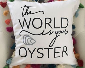 The World is your Oyster Tassel pillow cover