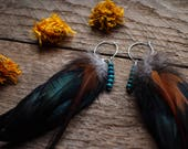 Feather earrings, boho earrings, hoop earrings