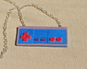Video Game Controller Necklace, Blue, Red, and Pink, Resin Jewelry