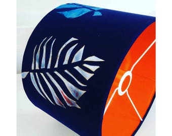 30cm Screen Printed & Hand Painted Velvet Drum Lampshade with Contrasting Insert