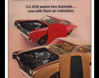 "Vintage Print Ad 1960s : Ford Mercury CJ 428 Automobile Car Wall Art Decor 8.5"" x 11"" each Advertisement"