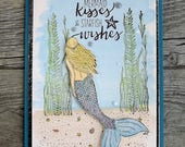 Mermaid card - memaid kisses and starfish wishes