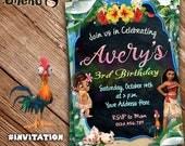 SALE 50% OFF Moana Invitation - Moana Birthday Invitation Theme - Moana Invitation for Girls and Boys - Moana - Maui - Pua - Hei Hei