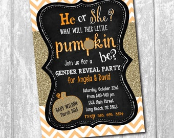 GENDER REVEAL INVITATION printable Fall/Halloween/Digital File/little pumpkin, gold, glitter, chevron, orange, party, chalkboard