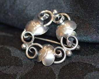 Vintage 1950s Danish John Lauritzen Sterling silver brooch, 7 gms, beautiful Scandinavian silver jewellery