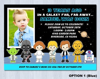 Star Wars Birthday Invitation, Star Wars Photo Invitation, Star Wars Photo Invite, Star Wars Birthday Invite
