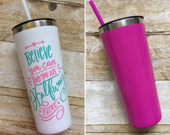 WHITE or PINK Stainless Steel Tumbler w/ Straw,  22oz Tumblers, Personalized, Powdercoated, Teacher Appreciation, Insulated, Travel Tumbler