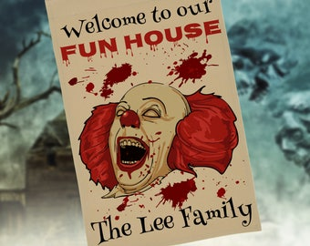 Personalized Halloween Creepy Clown Flag or Wall Hanging, Welcome To Our Fun House, Stand NOT Included