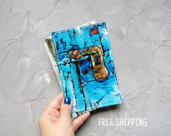 Postcards set Postcrossing  Art postcards Set of postcard Wood texture Turquoise Ancient door Turquoise watercolor Old wood background