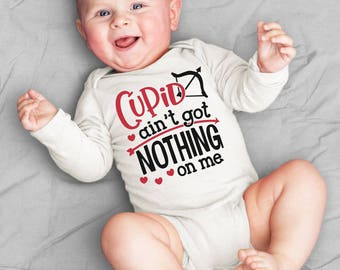 Cupid Ain't Got Nothing On Me Bodysuit or T-Shirt for Baby Boy Toddler Newborn Babies Shower Coming Home Gift Idea Creeper Valentines Arrow