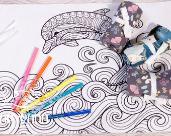 Color me dolphin,  draw on place mat, portable place mat, drawing, child mandala, dolphin mandala