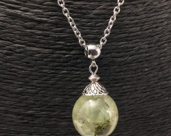Prehnite bubble pendant, resin pendant bubble and inclusion of green gemstone necklace, silver necklace.