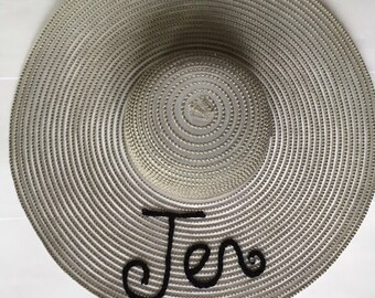 Grey Personalised Floppy Sun Hat with Crystal Detail