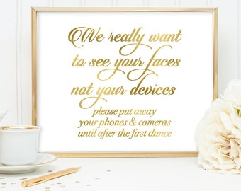 Unplugged Wedding Sign DIY, Faces Not Devices Sign / Gold Wedding Sign / White Gold Calligraphy, Faux Metallic Gold ▷ Instant Download JPEG
