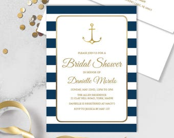 Nautical Bridal Shower Invitation / Nautical Stripes / Navy Stripes, Gold Anchor / Navy and Gold ▷ Printed Heavy Paper {or} Printable