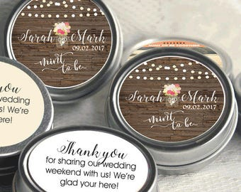 Personalized Mint to Be Tin Mints Wedding Favor - Mint to Be Favor - Bridal Shower Favor - Mint Favors  - Fall Leaves - Fall Wedding Favor