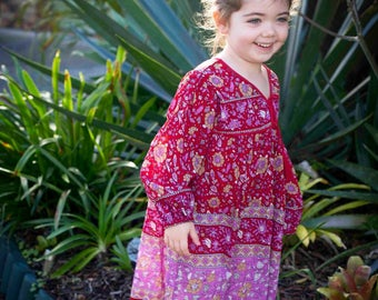 Girls boho gypsy folk vintage style cotton dress