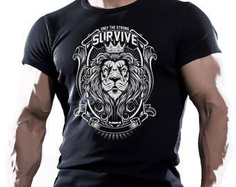Only Strong Survive Lion. Black Men's Cotton T-shirt