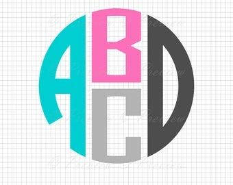 Buy 2 Get 1 Free! Digital Clipart Four Letter Monogram Font circle stacked modern monogram black images png/eps/svg/dxf/pdf/studio cut files