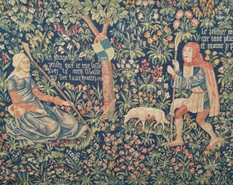 "Antique Noble Pastorale French Mille-Fleurs Tapestry Signed 1940 WWII Shepherd & Shepherdess 99"" x 52"""