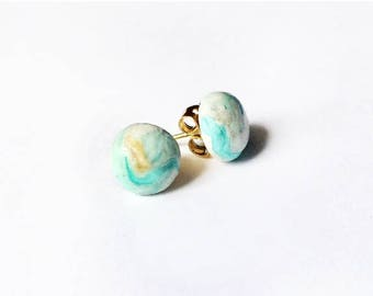 SOLD (Accepting Orders) Clay Stud Earrings - Turquoise