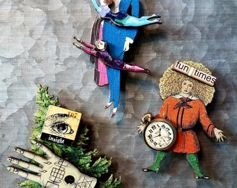 3 Oddity kitschy  refrigerator magnets circus flying trapeze palm reading crazy fun times OOAK FREE SHIPPING