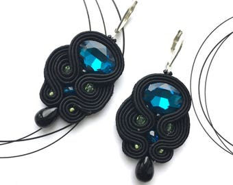 Luxury Jewelry, Blue Earrings, Birthday Gift For Woman, Statement Earrings, Medium Size Earring, Shiny Earrings, Black Earrings