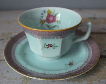 ADAMS England CALYX Ware Cups and Saucers LOWESTOFT Light Blue Floral Set of 7