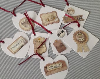 Set of 8 tags chromo style labels. Set of 37.