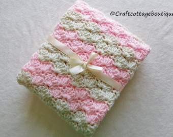 Crochet Baby Blanket- READY to SHIP - Travel / Stroller / Car Seat - Girl - Light Pink and Ivory - Baby Shower Gift - Nursery - Pram - Knit