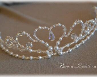 Tiara wedding pearls and Crystal, pearls and Swarovski crystals - bridal tiara, wedding crystal crown tiara Lovebird