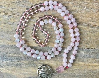 Rose Quartz and Moonstone 108 Mala Necklace with Seed Of Life Silver Pendant  /Mala Beads /Valentine's Day Gifts for Her /Japa Mala