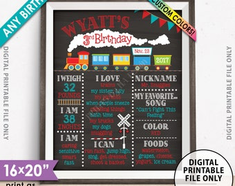 "Train Birthday Poster, Train Theme Birthday Board, Any Birthday Stats Milestones, Chalkboard Style PRINTABLE 8x10/16x20"" Custom B-day Board"
