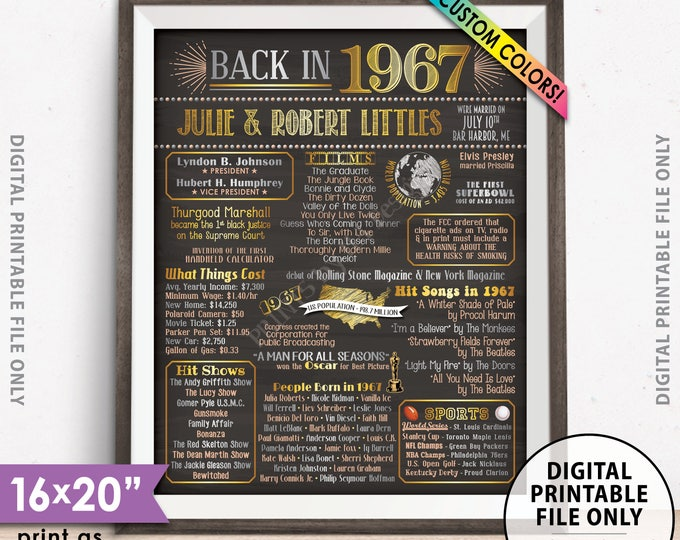 """50th Anniversary Gift, Married in 1967 Anniversary Poster, Flashback to 1967 50 Years Ago Chalkboard Style PRINTABLE 8x10/16x20"""" 1967 Poster"""