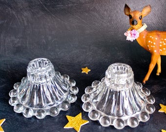 Berwick ~ Boopie Pattern Clear Glass Candle Holders by Anchor Hocking: Mid Century Bubble Candlestick Holders