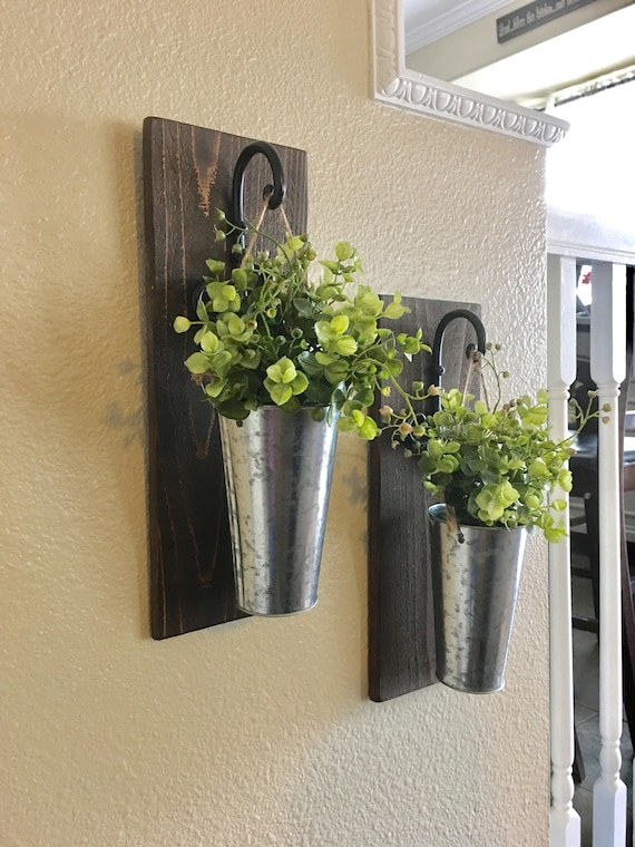 Galvanized Metal Wall Decor Galvanized Metal Hanging Planter With Greenery Or Flowers On Galvanized Sheet Metal Spells Out Eat Atop A Wooden Cutti