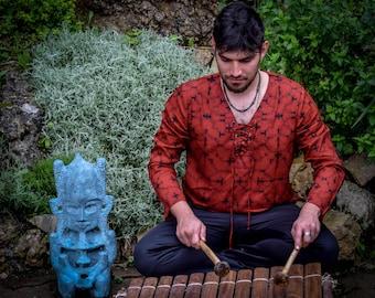 Shipibo shirt, red long sleeves shirt, V collar men shirts, Sacred Geometry, Ayahuasca clothes, Psychedelic Clothes, Entheogen clothes