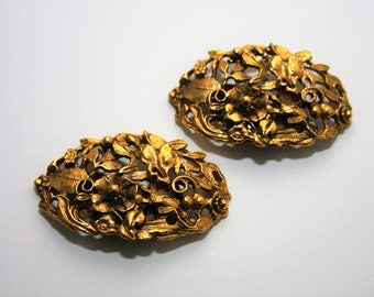 Gold Shoe Clips Musi Floral vintage clips