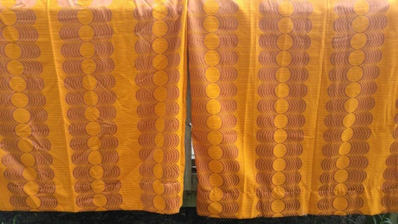 Mid Century Modern Curtain Panels Orange And Brown Mid Mod