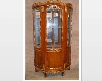 Large Carved French Style Rounded Curio Cabinet W/Gold Detail