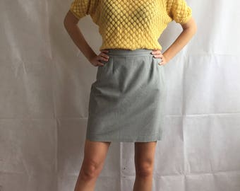 Vintage High Waist Gingham Pattern Mini Skirt