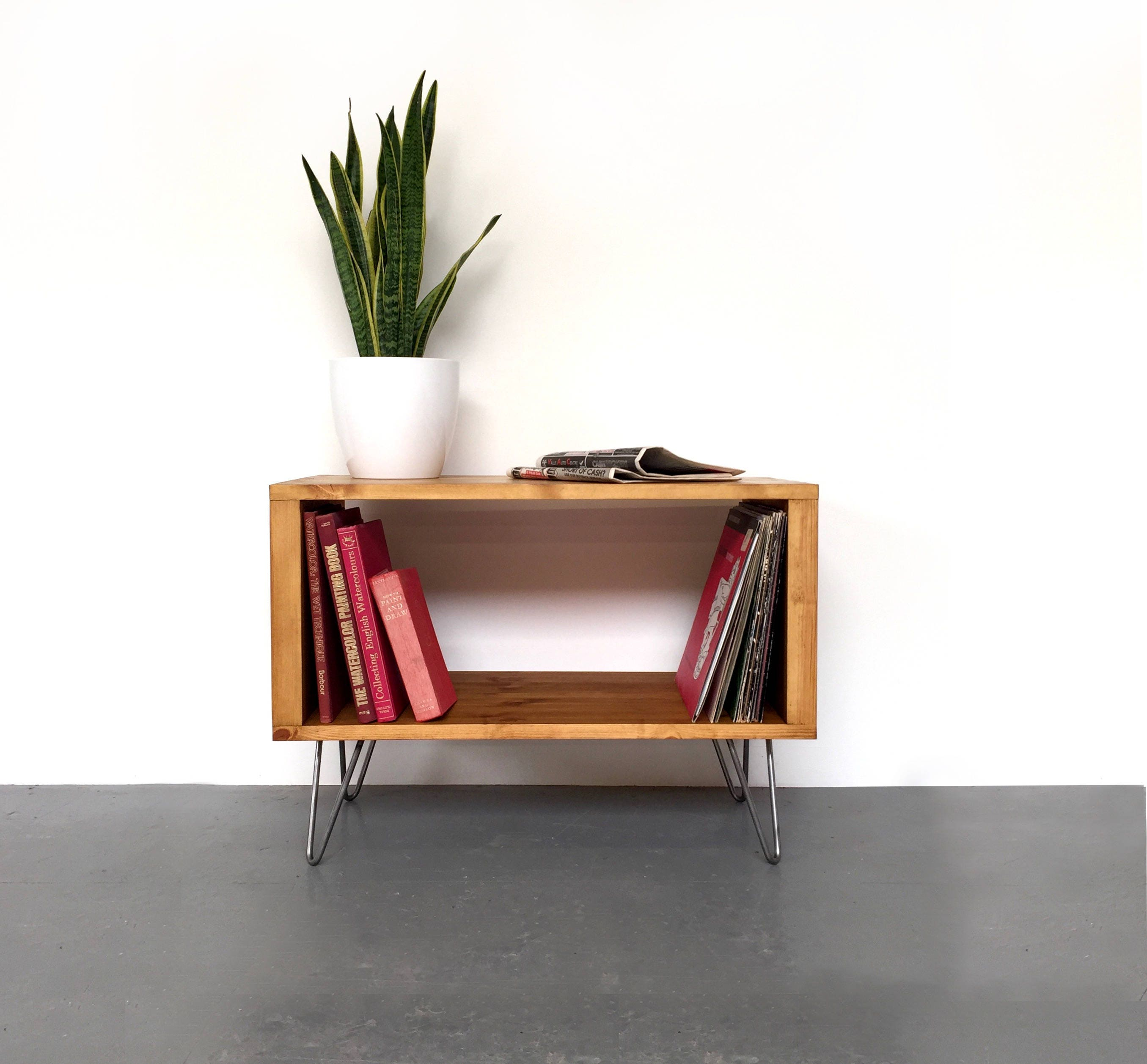 Stanton small record player tv stand with vinyl storage for Petite table tv