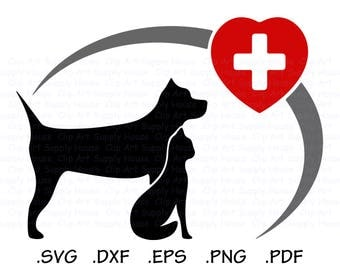 Puppy and Kitten Clipart, Veterinary Office Wall Art, Animal SVG File for Vinyl Cutters, Screen Printing, Silhouette Die Cut Machine - CA114