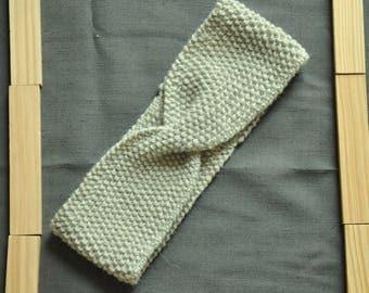 Headband, alpaca & wool hand knitted headband