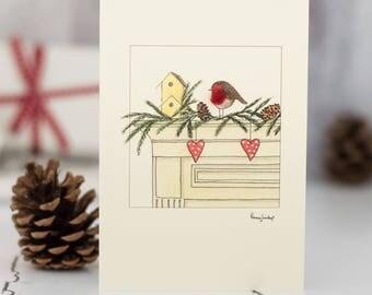 Robin on Mantlepiece Christmas Card, woolly robin Xmas card, festive robin card,