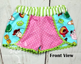 Girls Toy Story Shorts- Toddler Girls Toy Story Shorts- Baby Girls Toy Story Shorts- Woody-Buzz-Alien-Hamm- 6m, 12m, 18m, 2t, 3t 4t, 5, 6,8