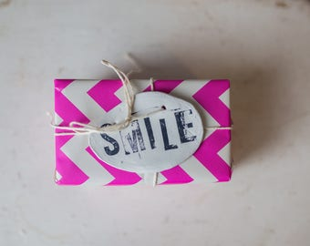 SMILE gift tag, smile tag, smile clay tag, clay gift tag, smile, happy, birthday, birthday gift tag