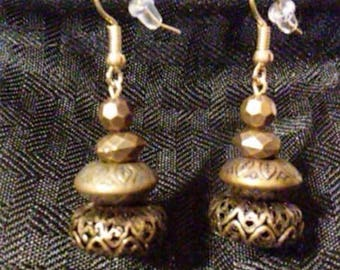 Intricate Bronze Stacked Earrings