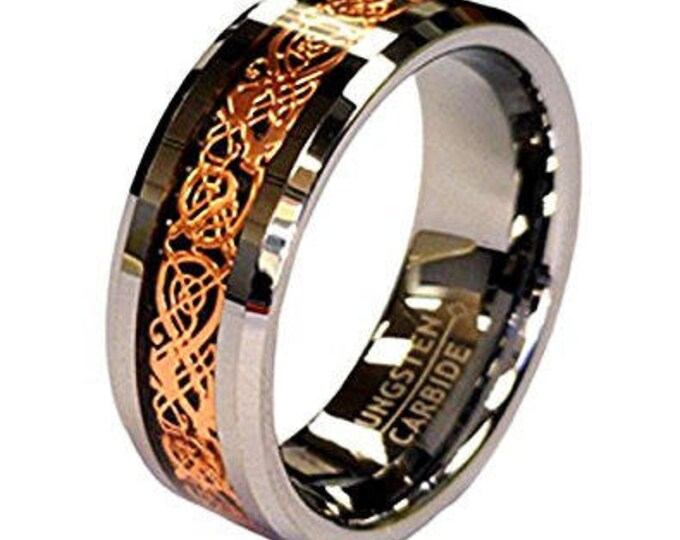8 mm Rose Gold Celtic Flat Shape Tungsten Ring Wedding Band - Comfort fit