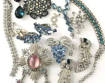 Vintage Rhinestone Jewelry and Components for Repair and Assemblage or Repurpose Jewelry Lot